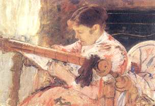 'Lydia at a tapestry loom', 1881, óleo. Flint Institution of Arts, Michigan
